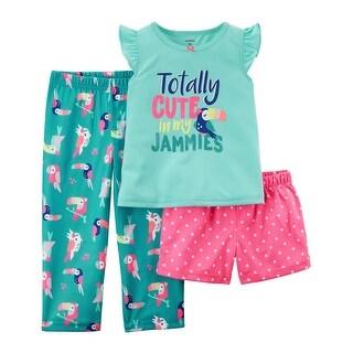 Carter's Baby Girls' 3 Piece 3-Piece Neon Poly PJs, 24 Months - Blue/Multi/Pink