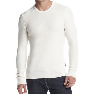 Michael Kors Mens Textured Crewneck Sweater Ivory Cream XX-Large