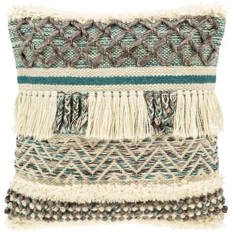 Kalani Handwoven Bohemian Teal Throw Pillow