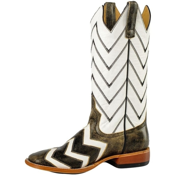 Horse Power Western Boots Mens Black Cracktacular Chevron White