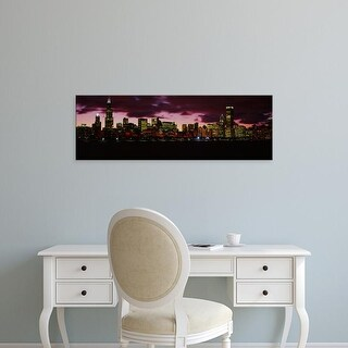 Easy Art Prints Panoramic Images's 'Skyscrapers lit up at dusk, Chicago, Illinois, USA' Premium Canvas Art