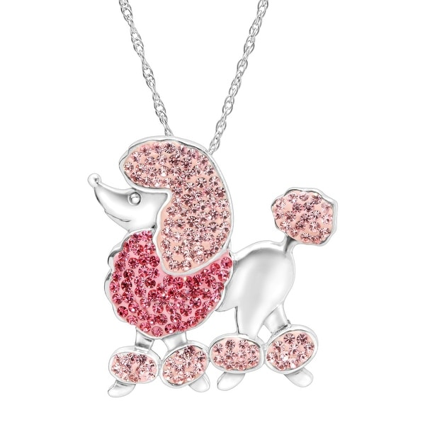 Crystaluxe Poodle Pendant with Pink & Rose Swarovski Crystals in Sterling Silver