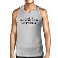 Boyfriend Material Mens Grey Tank Top Simple Design Cotton Tanks