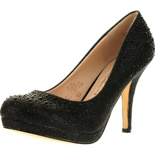 Blossom Womens Robin46 Rhinestone Sparkle Glitter Formal Evening Classic Low Heel Pumps Shoes