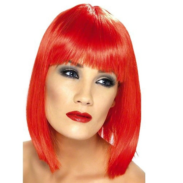 Short Neon Red Glamourama 80's Punk Rock Adult Costume Wig