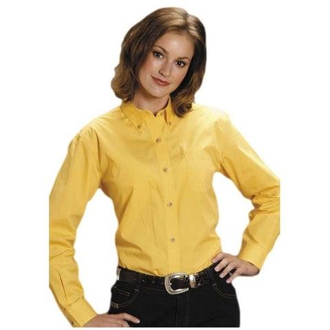 Roper Western Shirt Womens L/S Solid Poplin Yellow