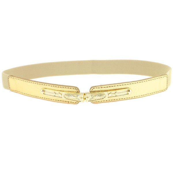 Stretchy Band Lychee Pattern Metal Buckle Waist Belt for Women - Yellow