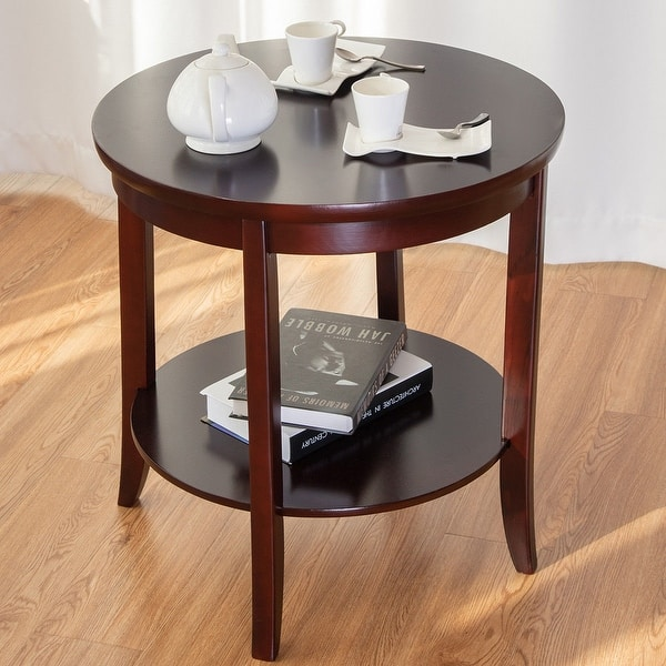 Shop Gymax Round Wood End Table Sofa Side Coffee Table Storage