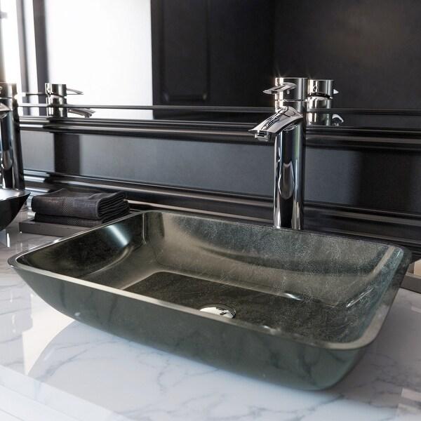 VIGO Grey Onyx Glass Rectangular Vessel Bathroom Sink. Opens flyout.