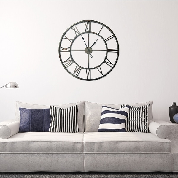 Walplus Minimalist Large Roman Black Silver Gold Metal Iron Wall Clock. Opens flyout.