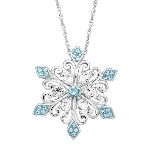 Crystaluxe Snowflake Pendant with Swarovski Elements Crystals in Sterling Silver - Blue