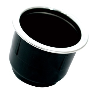 Tigress Black Plastic Cup Holder Insert W SS Ring On Top