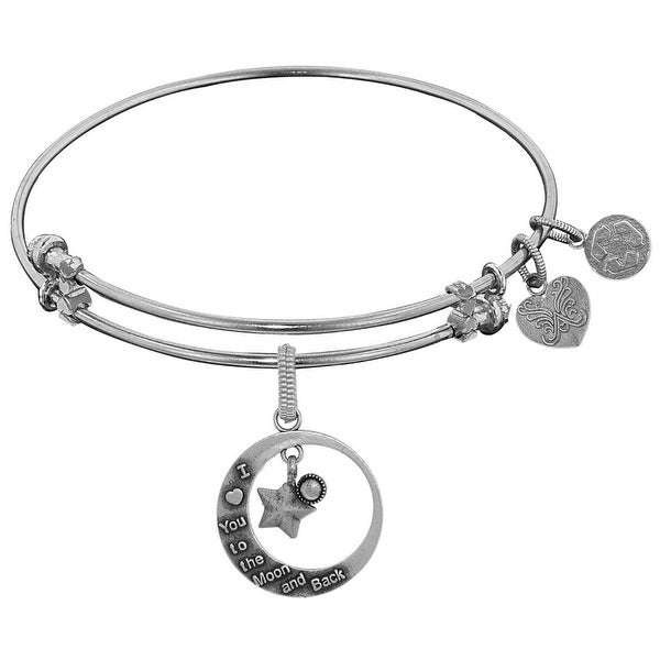 Brass White Finish Love You To Moon and Back Charm On White Angelica Collection Bangle