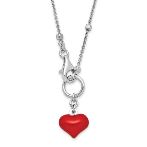 Sterling Silver Rhodium-plated Enameled Red Heart Necklace by Versil