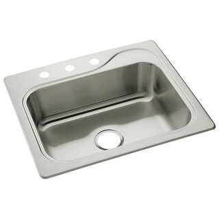 "Sterling 11405-3 Southhaven 25"" Single Basin Drop In Stainless Steel Kitchen Sink with SilentShield"