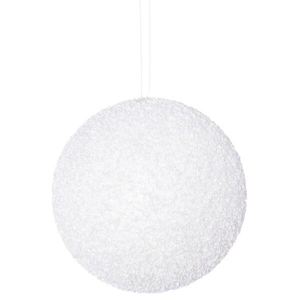 6'' White Bead Sequin Ball Orn 1/Box