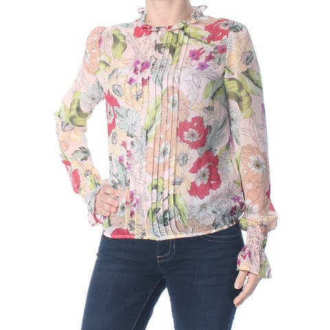 GUESS Womens Pink Pleated Floral Long Sleeve Blouse Top Size: XS