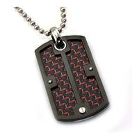 Stainless Steel Dog Tag Screw Pendant with Red/Black Carbon Fiber Inlay - 24 inches