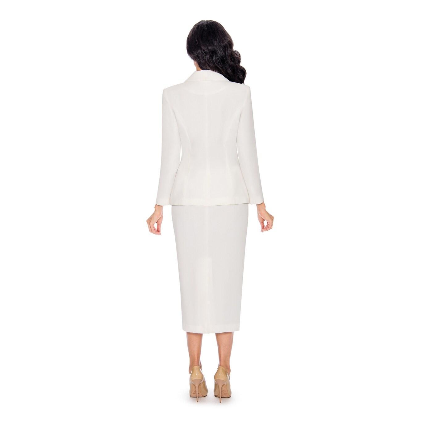 Le Suit Womens 2 Button Notch Collar Column Skirt Suit