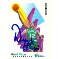Derek Harper Autographed Basketball Card Dallas Mavericks 1991