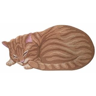 "Sleeping Orange Tabby Cat Shaped Throw Rug - Hand Hooked - 17.5"" x 35"""