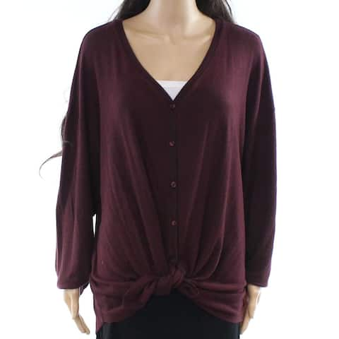 Gibson Women's Red Size 3X Plus Cardigan V-Neck Tie-Front Sweater