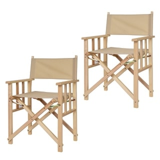 costway set of 2 folding makeup director chairs wood camping fishing beige