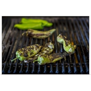 """Close up of charred chilies on grill"" Poster Print"