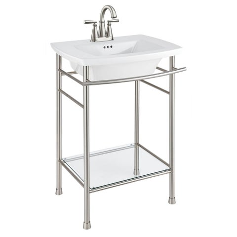 "American Standard 445.004 Edgemere 25"" Fireclay Bathroom Sink with 3 Faucet Holes at 4"" Centers and Overflow - Less Pedestal"