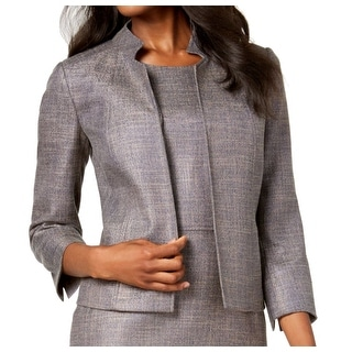 Anne Klein Women's Topper Jacket Gray Size 8 Cropped Stand Collar