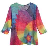 Women's Starburst Prism T-Shirt - 3/4 -Sleeve Scoop Neck Top