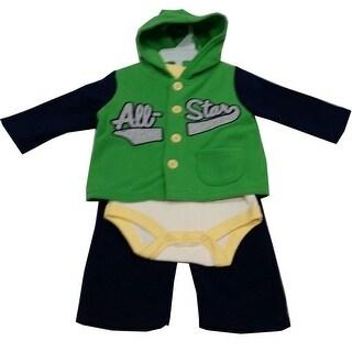 Bon Bebe Baby Boys Black Green All Star Bodysuit Hooded Top 3 Pc Pant Set 3-9M