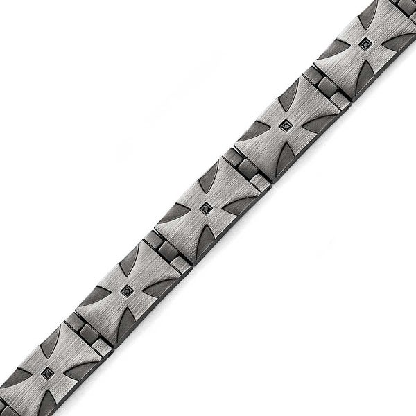 Chisel Stainless Steel Matte/Antiqued 1/10ct. Tw Black Diamond Bracelet