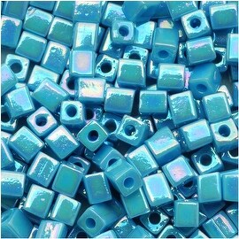 Miyuki 4mm Glass Cube Beads Opaque Light Blue AB 4132 10 Grams