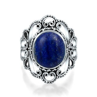 Bling Jewelry 925 Silver Filigree Untreated Natural Lapis Statement Ring - Blue