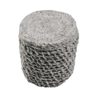 "18"" Gray Puri Wool Decorative Pouf Ottoman"