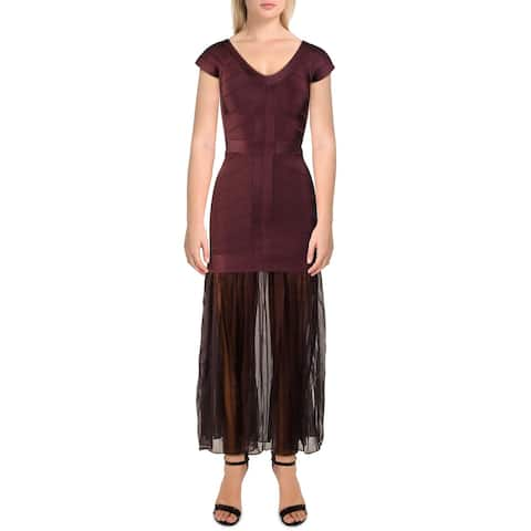French Connection Womens Rosa Spotlight Evening Dress Off-The-Shoulder Pleated