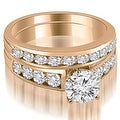 2.15 cttw. 14K Rose Gold Classic Channel Set Round Cut Diamond Bridal Set - Thumbnail 0