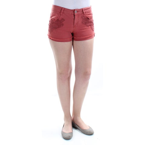 VANILLA STAR $39 Womens New 1229 Red Mid Rise Straight leg Short 5 Juniors B+B