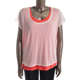 DKNY Jeans Womens Plus Casual Top Knit Mock Layer - m