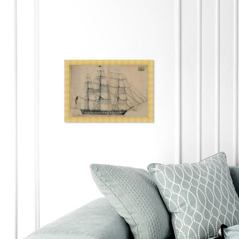 Oliver Gal 'USS Constitution Sail Plan 1817' Nautical and Coastal Framed Wall Art Prints Nautical Watercrafts - Brown, Gray