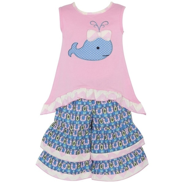AnnLoren Baby Girls Pink Blue Whale Print Hi-Lo Tunic 2 Pc Pant Set