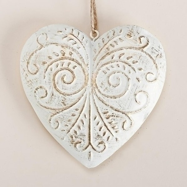 """4.5"""" White and Gold Decorative Scrollwork Metal Heart Christmas Ornament"""