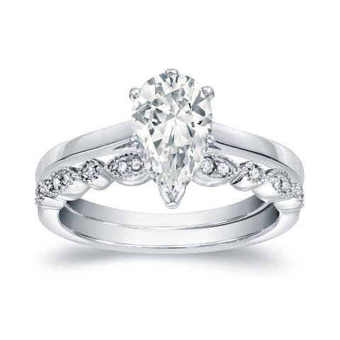 Auriya 14k Gold 1 1/6ctw Vintage Pear Shape Solitaire Diamond Engagement Ring Set