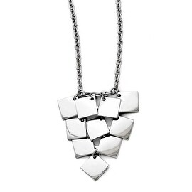Chisel Stainless Steel Multi-square Polished Necklace (3 mm) - 18.5 in