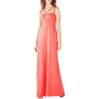 BCBG Max Azria Womens Kelbie Evening Dress Strappy Keyhole