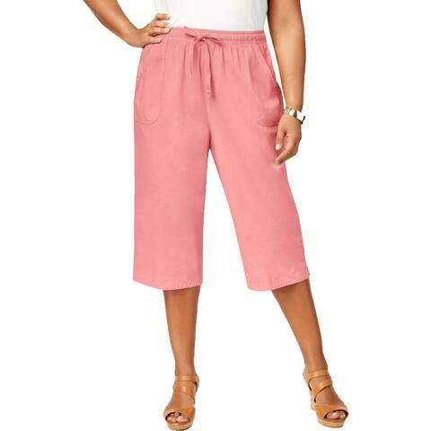 Karen Scott Womens Plus Capri Pants Cotton Comfort Waist