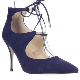 Ivanka Trump Lace Up Pointed Toe Heels - Dark Blue