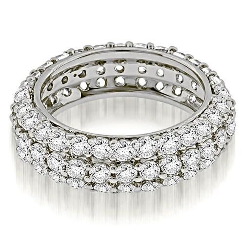 2.50 cttw. 14K White Gold Elegant Three Row Round Diamond Eternity Band Ring