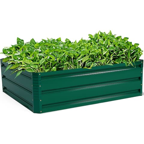 "Costway 40""x32"" Patio Raised Garden Bed Vegetable Flower Plant Dark"